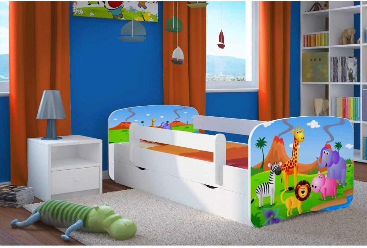 Cama blanca para niños Cama infantil Cama individual para niños Princess con colchón y cajón incluidos - BD, (Safari, 140x70)