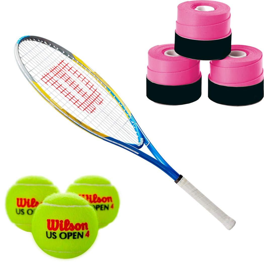 Wilson US Open 23 Junior Tennis Racquet Set Or Kit Bundled with a 3-Pack of Pink Overgrips and a Can of Tennis Balls
