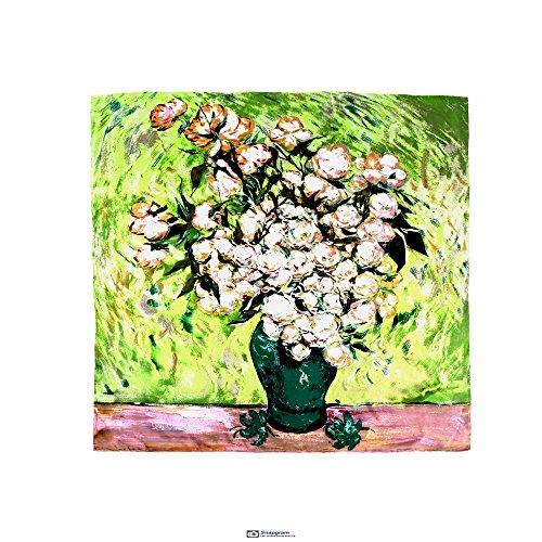 - Aqueena Women's 100% Luxury Charmeuse Satin Square Silk Scarf Oil Paintings