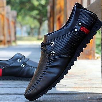 Qzny Zapatos de Cuero para Hombres 2018 Otoño nuevos Mocasines para Hombres Zapatos de Hombre Blanco y Negro Zapatos Ocasionales de Moda Respirable Zapatos ...