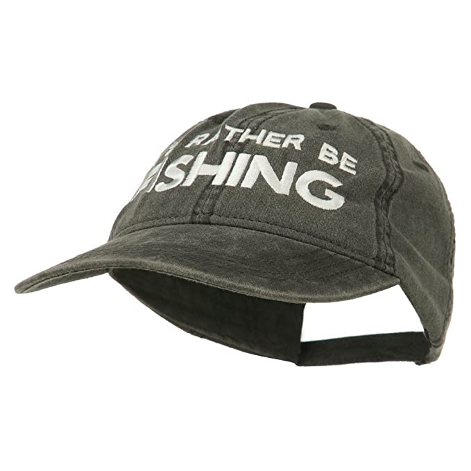 6f750146be9 E4hats I d Rather Be Fishing Embroidered Washed Cotton Cap - Black OSFM