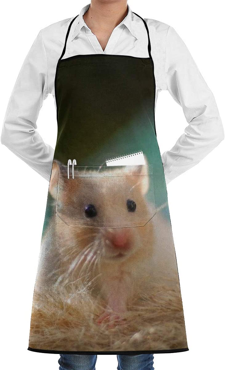 Lovely Hamster Delantal para Hombres y Mujeres con Frente Grande Cómodo Bolsillo Chef Cocina Delantales de Cocina Babero para Barbacoa Hornear Jardinería Artesanía Pintura