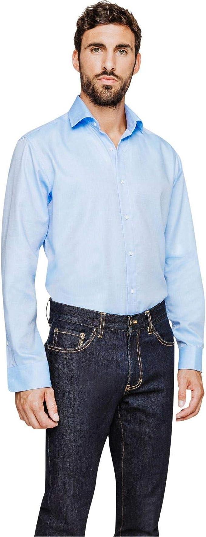 Arrow - Camisa regular sin planchar, de algodón, color azul