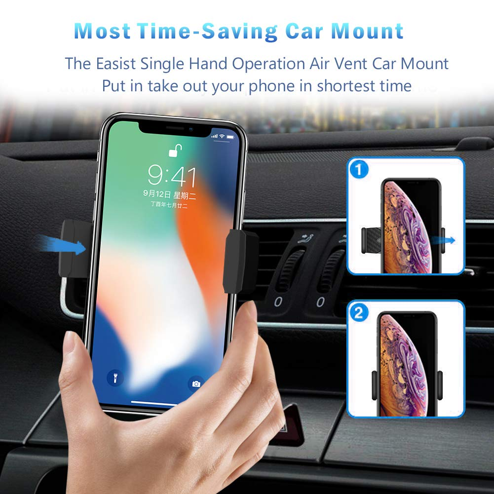 Compatible with iPhone Xs Max XR X 8 7 Plus 6S 6 One Stretch Car Phone Mount Black Galaxy S10 9 8 7 Plus Note 10 9 8 5 and More Smart Phone Universal Air Vent Stretch Car Mount Phone Holder
