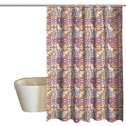 (Denruny Shower Curtains Burgundy Moroccan,Italian Inspired Motif,W72 x L84,Shower Curtain for Girls Bathroom )
