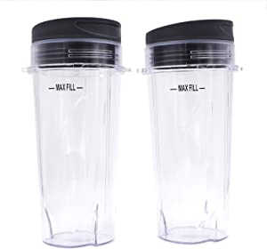 Replacement Blender Cup with Lid (2 Pack) 16 Ounce Cups For Nutri Ninja Pro BL660 BL663CO BL740 BL770 BL770W BL771 BL773CO BL780 BL780CO Ninja Professional 1200W 1100W 1500 Watts Blender Parts