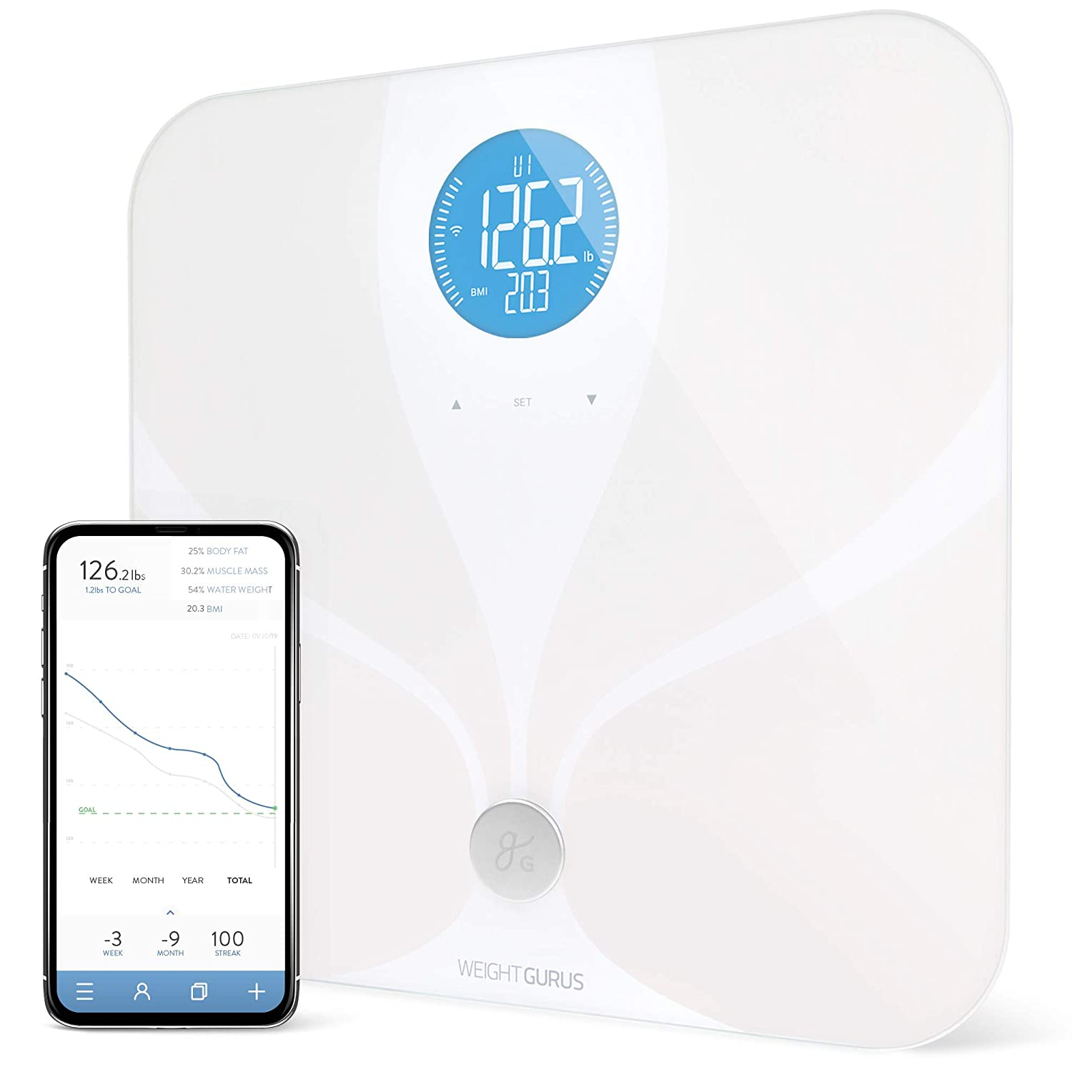 Greater Goods Wi Fi Smart Body Fat Bathroom Scale, Weight Gurus Connected, Backlit Lcd, Ito Conductive Surface... by Greater Goods