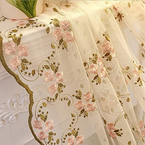 Pink Embroidered Floral Sheer Curtains Country Style Beautiful Edge Rod Pocket Kids Room Rustic Lace Curtain Panel Window Voile Drapes for Living Room 1 Panel AiFish 84 Inches Length W52 x L84 inch