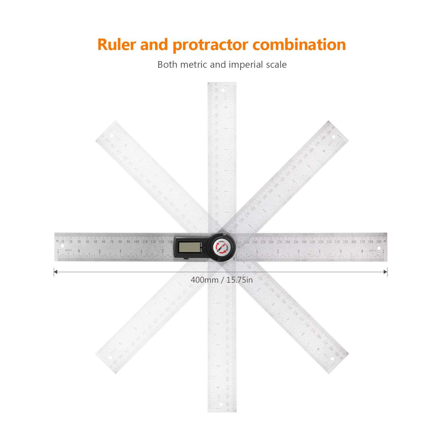 Gocheer Digital Angle Ruler, LCD Display Protractor Angle Finder, Stainless Steel 400mm / 14 inches, 360°Angle Measure, Electronic Level Gauge