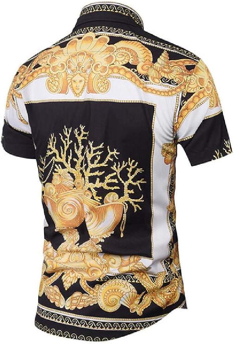 Beloved Mens Short Sleeve Dress Shirt Luxury Printed Button Down Shirt