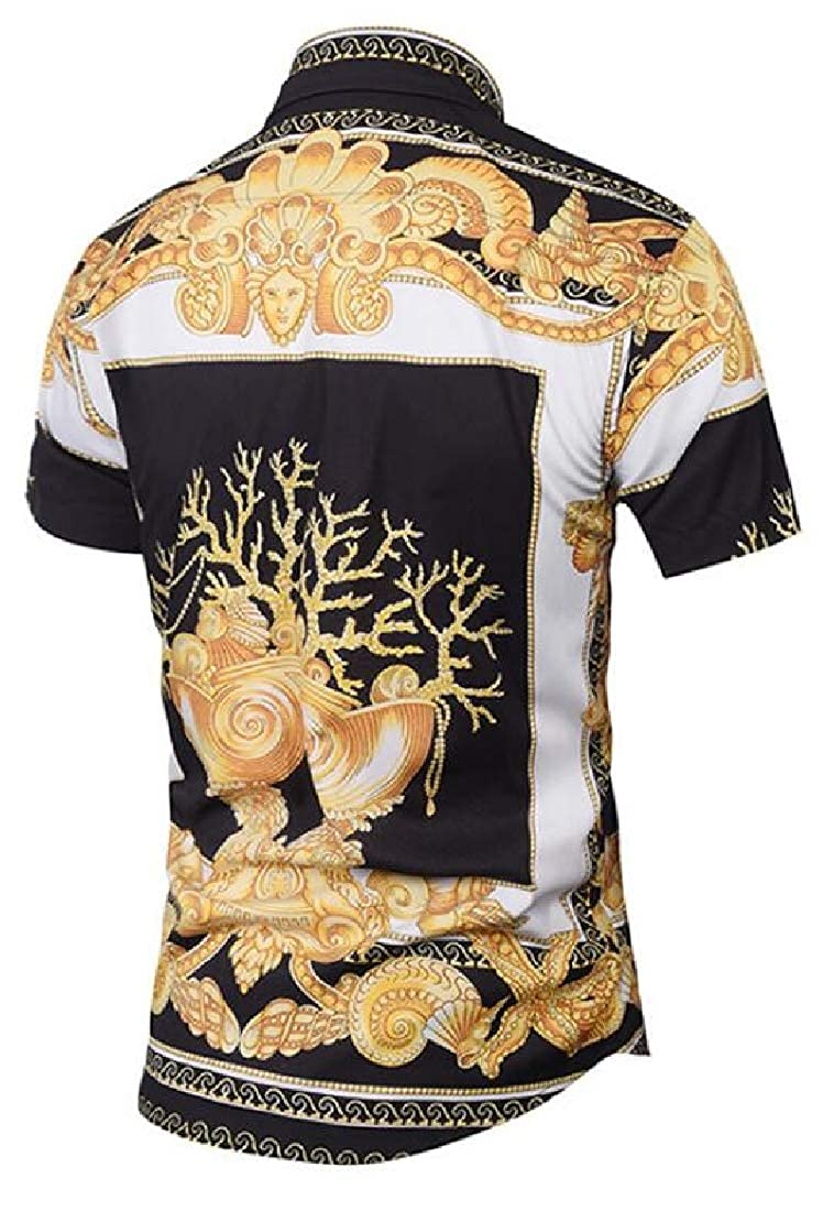 Esast Men Short Sleeve Fashion Luxury Design Print Dress Shirt
