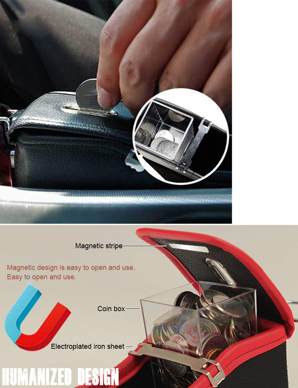 Car Seat Gap Filler Organiser Catcher Gap PU Leather Storage Box Case Black SPDYCESS with Coin Side Pocket and Cup Holder Car Organizer Drivers Side