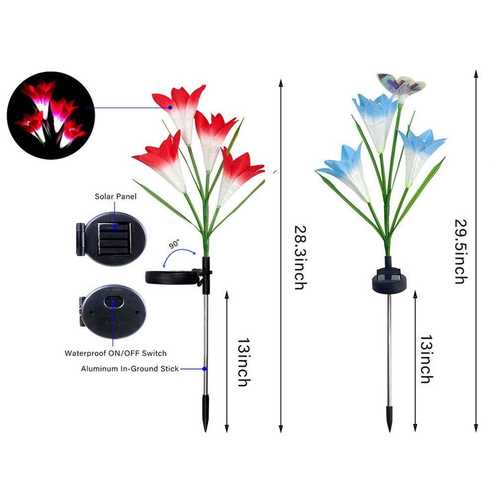 YOUHUG Outdoor Solar Flower Light Waterproof LED with 2 Butterfly 14 Lily Flower for Yard Garden Pathway Walkway Decoration 4 Pack (Pink Purple Blue Yellow)