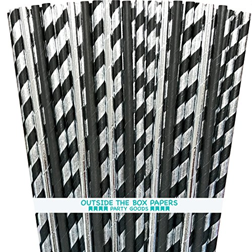 Black and Silver Foil Paper Drinking Straws - 100 Pack - Outside the Box Papers Brand (Black Silver Foil)