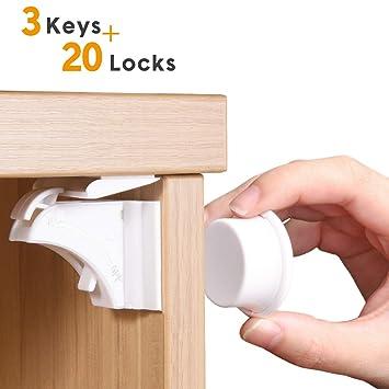 8f593f9409f Amazon.com   Magnetic Cabinet Locks Child Safety Baby Proofing Lock for  Cabinet Cupboard Drawer Sliding Window Door Locks (20 Packs Cabinet Locks)    Baby