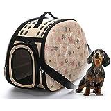 Felicely ペット折りたたみキャリーバッグ 軽量 折り畳み 肩掛けもできる 2way仕様 小型犬猫用 メッシュ 通気性抜群 ペットバッグ ペットキャリー お出かけ便利 航空用 旅行バッグ (L, アプリコット)