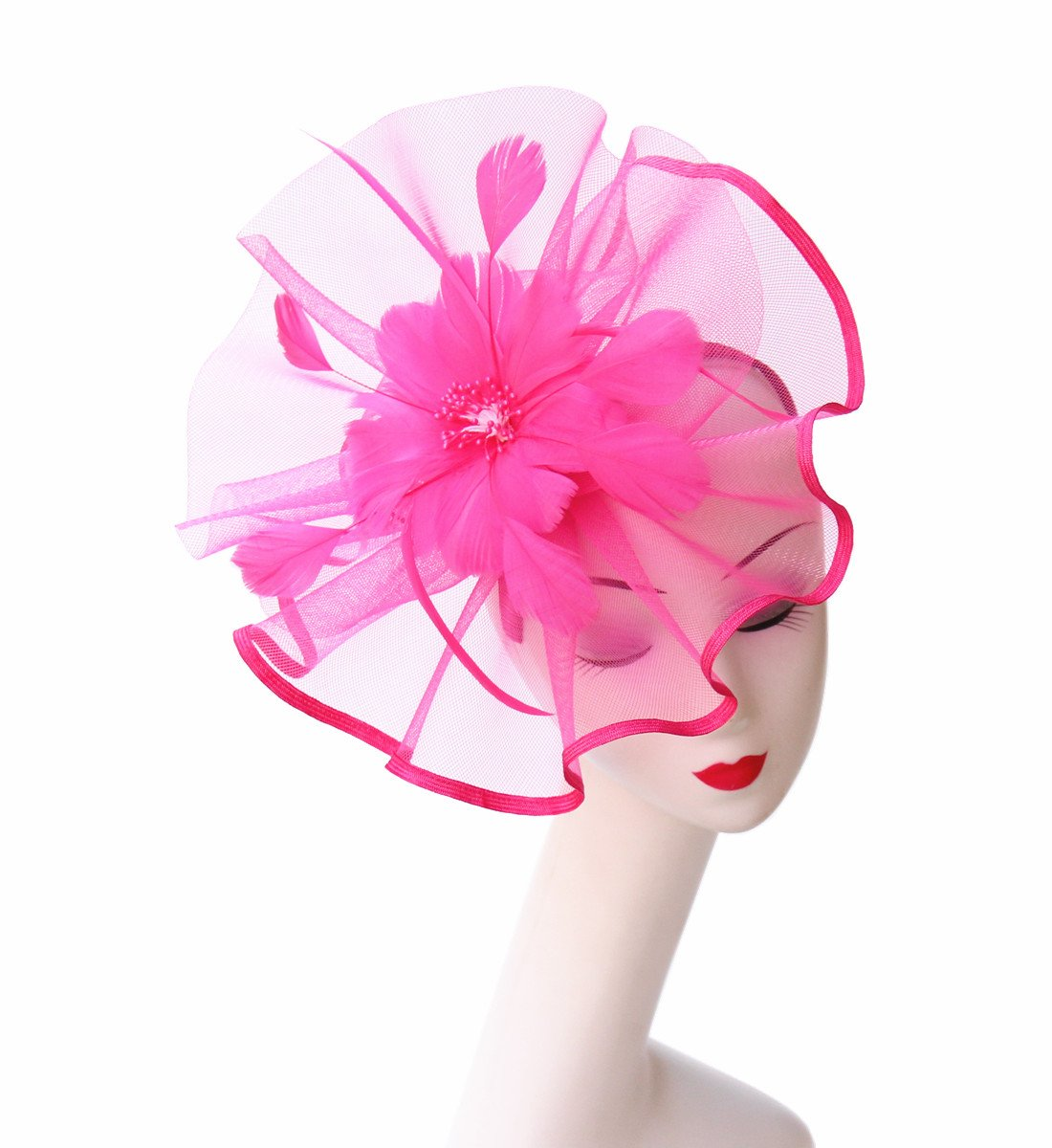 SAFERIN Fascinator Hat Feather Mesh Net Veil Party Hat Flower Kentucky Derby Hat with Clip and Hairband Wedding Fascinators (TA1-Fluorescence Fuchsia)