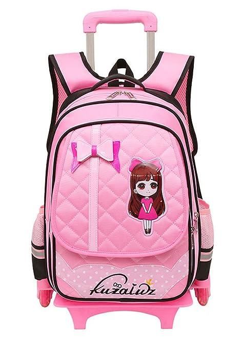 Los niños nuevos desmontables MinegRong mochilas escolares con 6 ruedas para niñas Trolley mochila con ruedas