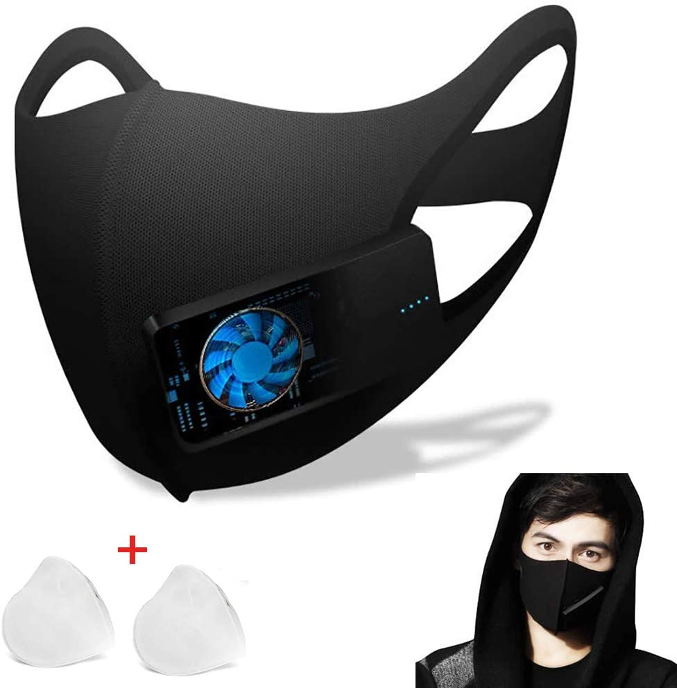 ZJM Filtros faciales de carbón Activado, Mangas eléctricas de protección bucal Válvula de respiración Inteligente Protector Facial Previene eficazmente Las bacterias PM2.5 Partículas nocivas