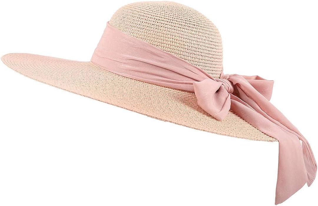 c51e12ab3d1a Amazon.com: Women Straw Hat Beach Sun Hat Summer Floppy Foldable Bow Tie  Wide Brim Hat: Cell Phones & Accessories