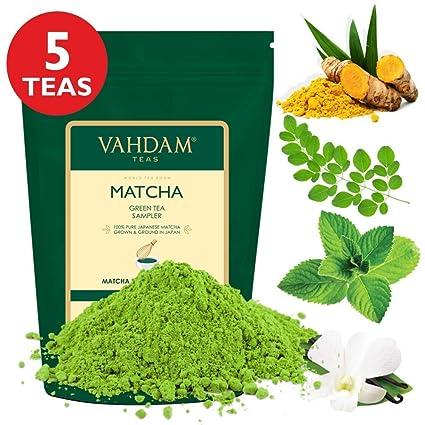 Vahdam Matcha Green Tea Sampler - 5 Teas   100% Pure Japanese