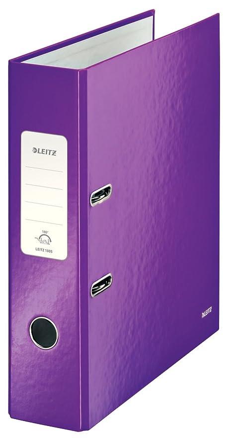 Leitz, Archivador de Palanca, Violeta Metalizado, A4, Lomo de 8 cm ancho