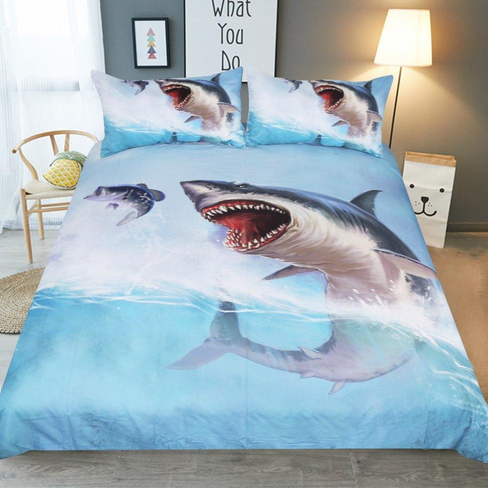 KTLRR Sea Water Shark Duvet Cover Set,Ornate Underwater Sea Ocean Life Animals Marine Design,Kids Adults Bedroom Decoration Bedding Set with Pillowcases,Microfiber No Comforter (Shark, King 3pcs)