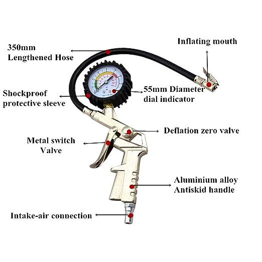 Amazon.es: AUTLY Neumático inflador Manómetro con Empuñadura Pistola 12V Compresor de Aire Michelin 300psi Coche Bomba de Neumático Compresor