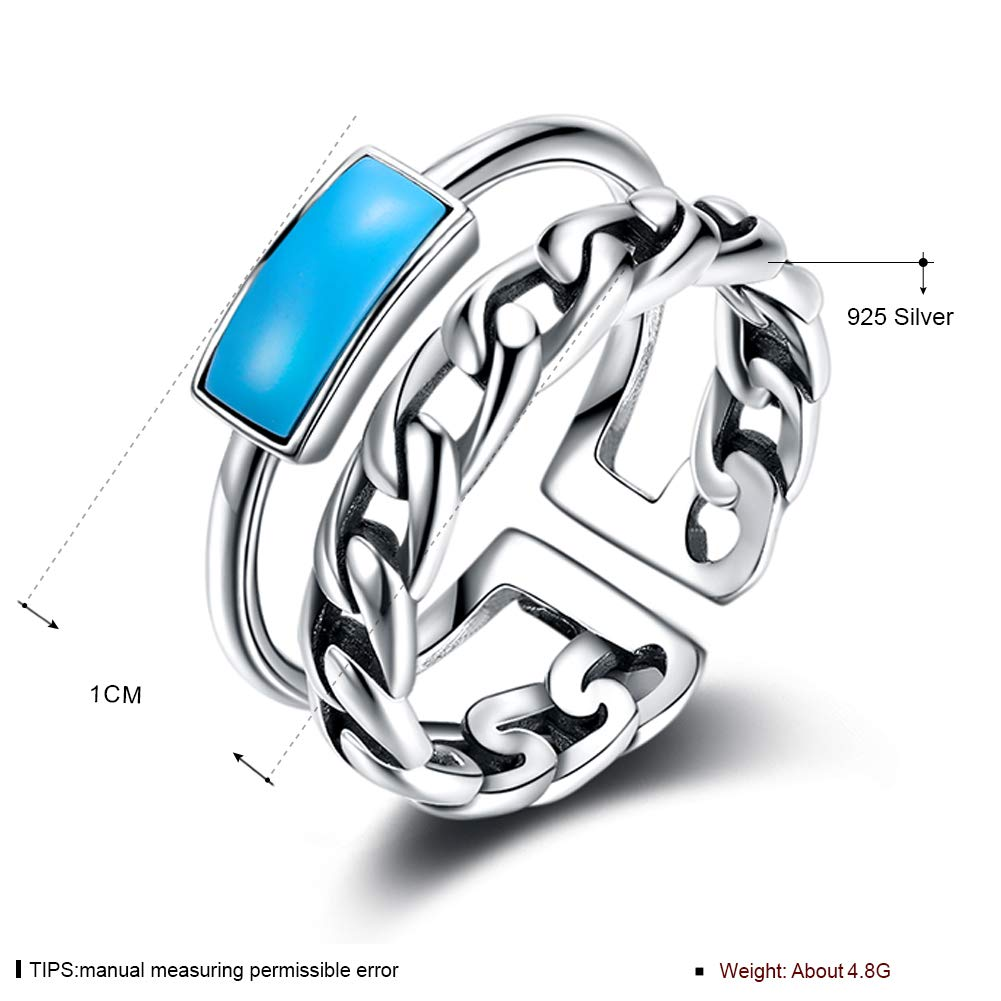 V-MONI S925 Silver Fashion Vintage Turquoise Double Layer Open Ring