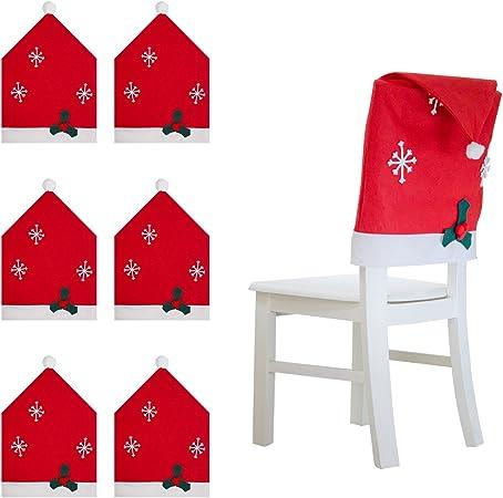 6 Pack] – Fundas de silla de Navidad gorro de Papá Noel funda para silla para comedor decoración: Amazon.es: Hogar
