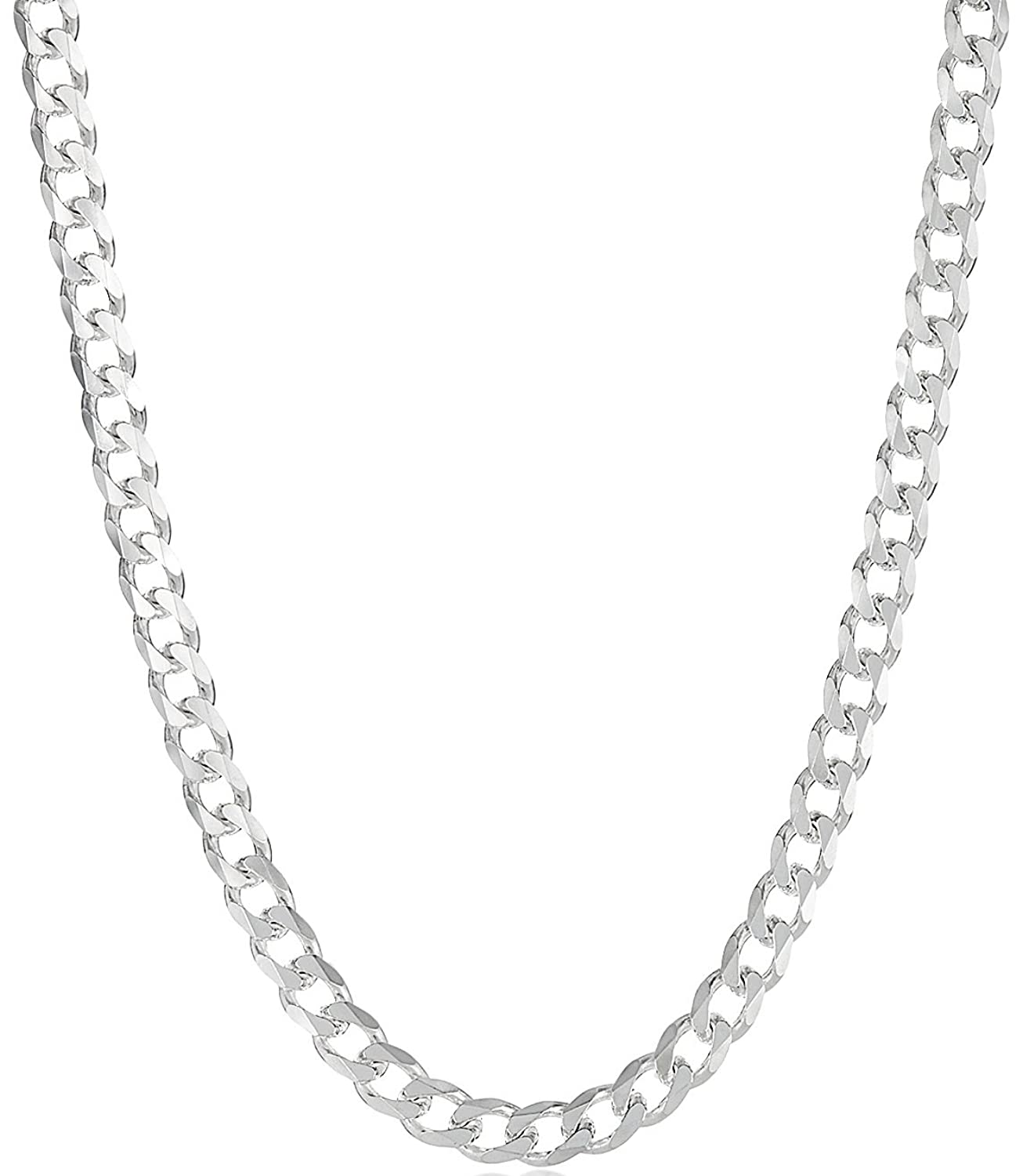 """.925 Sterling Silver Italian Cuban Link Curb Chain, 3mm-11mm, 16""""-40"""" Necklace or 7""""-10"""" Bracelet/Anklet"""