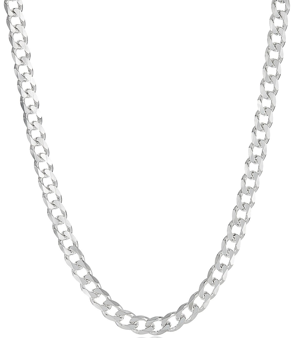 925 Sterling Silver Italian Crafted 8mm Beveled Cuban Link Chain Necklace, 18'' + Bonus Polishing Cloth