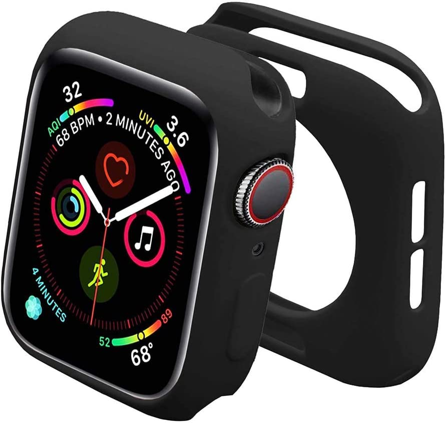 Sunkeyou for Apple Watch Case SE Series 6/5/4 40mm 44mm, Series 3/2 38mm 42mm Shockproof Flexible Thin Lightweight Bumper Cover Protector for Smartwatch (38mm,Black)