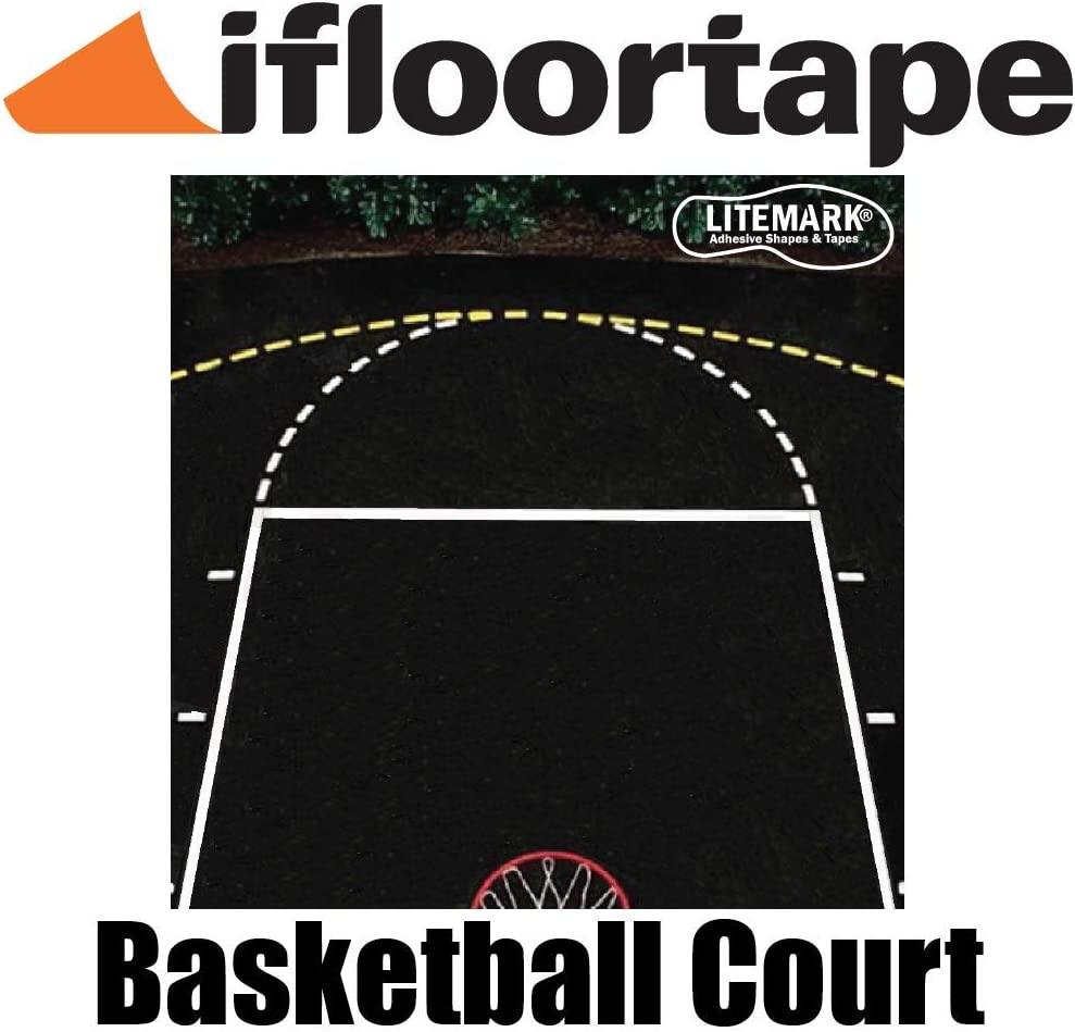 Ifloortape Yellow Or White Reflective Outdoor Basketball Court Marking Tape For Asphalt And Concrete Surface Amazon Ca Sports Outdoors