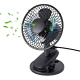 Oscillating Clip On USB Desk Fan, YIHUNION 2 in 1 Personal USB Powered Fan Desktop Table Cooling Portable Fan with 3-Speeds f