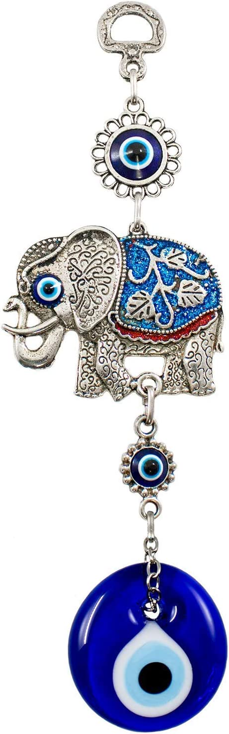 Ekayist Turkish Blue Evil Eye Wall Hanging Ornament with Blue Elephant - Home Decor Protection - Nazar Boncuk Amulet and Home Blessing Charm - Metal Wall Art Talisman and Good Luck