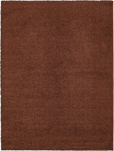 A2Z Rug Cozy Shaggy Collection 9x12-Feet Solid Area Rug - Chocolate Brown