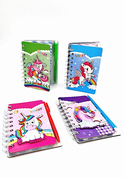 Pack Of 4 Unicorm Theme 3d Pop Out Creative Small Hard Cover Diary