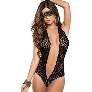 28aa1bed29c2 Women Lingerie Sexy Underwear Teddy Deep V Halter Lace Bodysuit Sleepwear  Mini Night Lingerie Set Ceinture Transparent Fun Pajamas With Eyes Cover:  ...