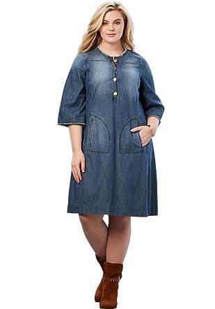 Roamans Womens Plus Size Denim Shirt Dress At Amazon Womens