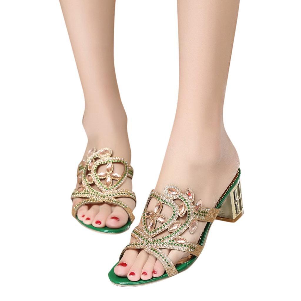 FORUU Fashion Women Girl Big Rhinestone Summer Sandals Ladies Sparkling Slipper (37, Green)