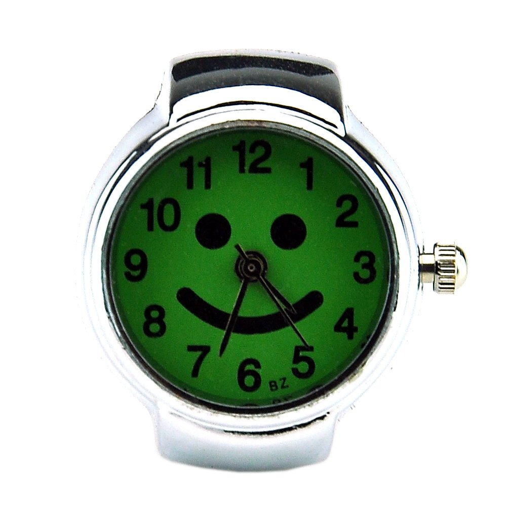 Cute Smiling Face Creative Girls Quartz Finger Ring Watch with Gift Box