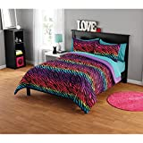3 Piece Rainbow Safari Zebra Motif Comforter Set Full/Queen Size, Printed Colorful Geometric Striped Animals Bedding, Graphic Modern Wavy Lines Design, Wildlife Lover Artwork Theme, Purple, Multicolor