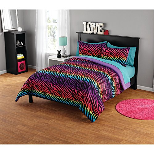 3 Piece Rainbow Safari Zebra Motif Comforter Set Full/Queen Size, Printed Colorful Geometric Striped Animals Bedding, Graphic Modern Wavy Lines Design, Wildlife Lover Artwork Theme, Purple, Multicolor by Shopping Experts
