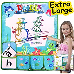 Grandeals Christmas Water Doodle Drawing Mat with Portable Pocket Card Water Pen,Kid Toddler Art Toy Aqua Doodle Mat Painting Educational Writing Pad Holiday Birthday Toy for Boy Girl Age1- 6
