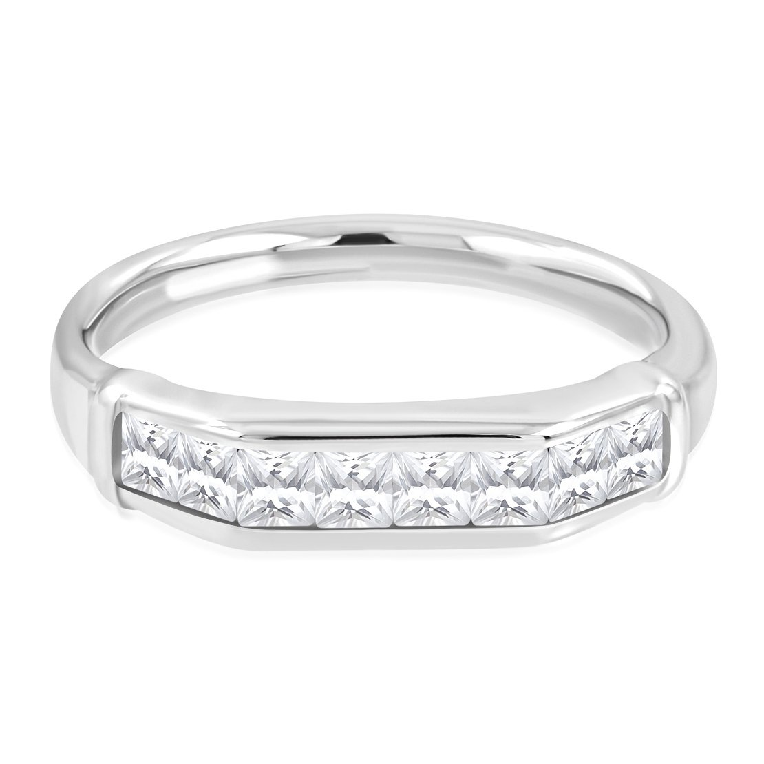 Stainless Steel Pave-Set Wedding Band Ring with Baguette Clear CZ