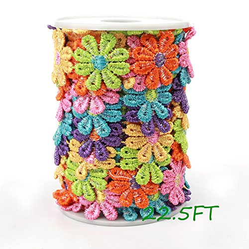 Black Menba Daisy Sun Flower Decorating Lace and Trims Fo...