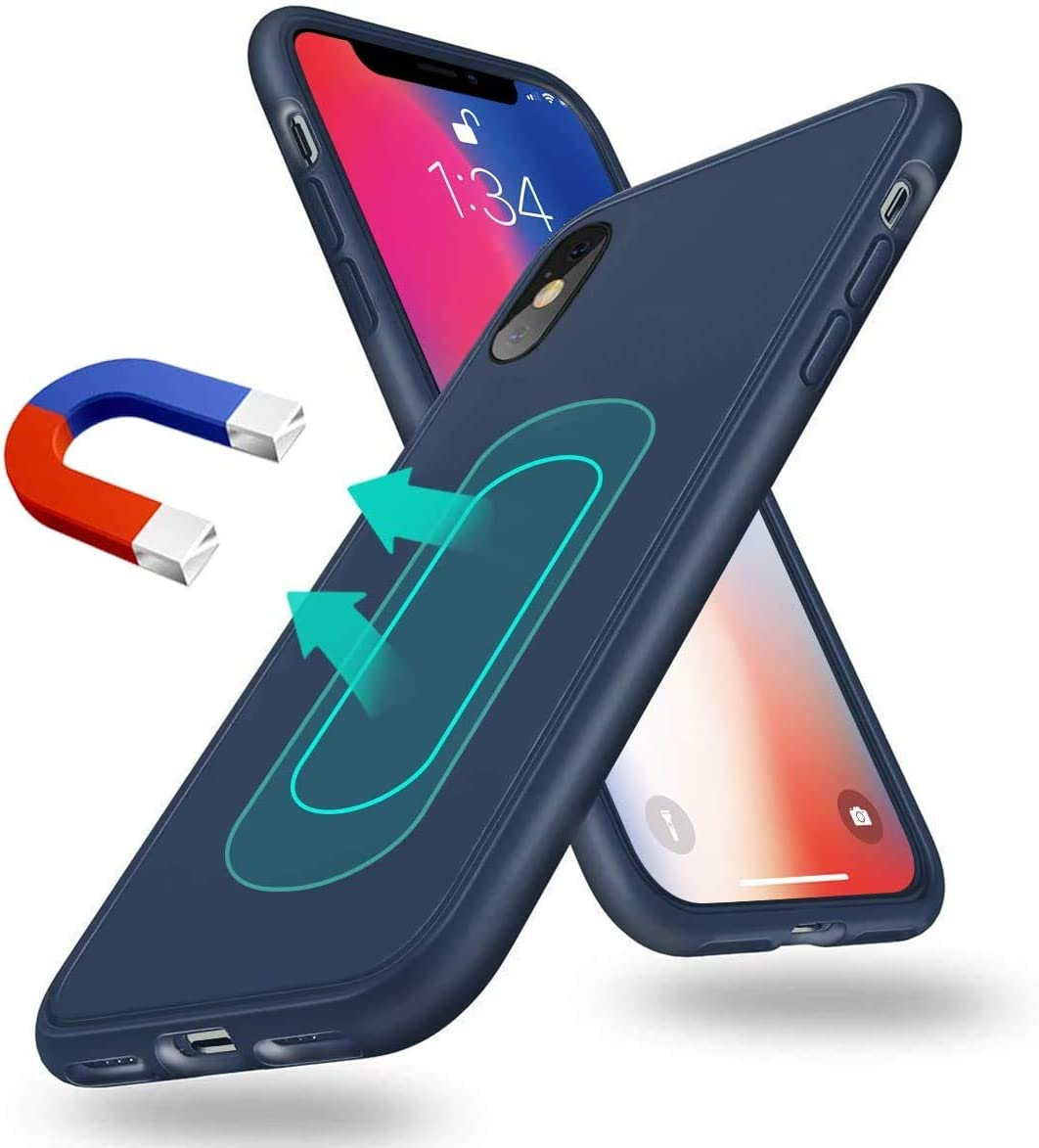 Magnetic Case for iPhone XR,[Invisible Built-in Metal Plate] Ultra Thin Support Magnetic Car Mount,Soft TPU Shockproof Anti-Scratch 360 Protective Cover for iPhone XR 6.1'' Blue