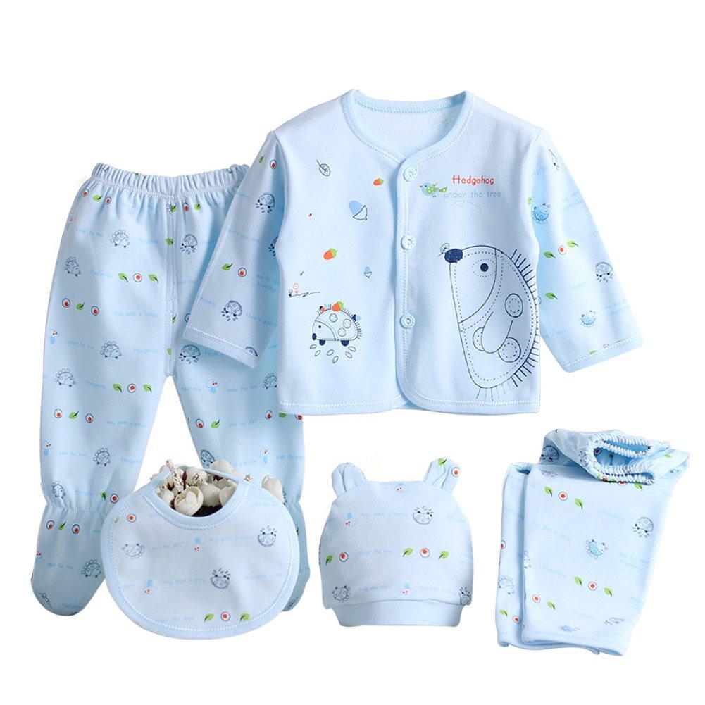 98957bad1f87 Anywow 5PCS Newborn 0-3M Boys Girls Baby Cotton Clothes Tops Hat ...