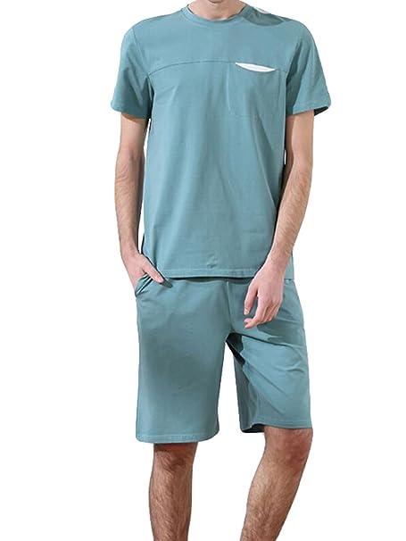 Hombres Verano Ocio Ropa De Dormir La Moda Fresco Batas Trajes, Green-XXXL: Amazon.es: Ropa y accesorios